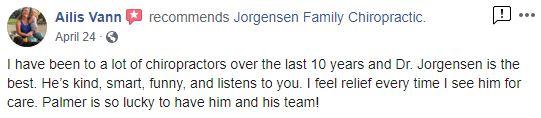 Jorgensen Family Chiropractic Patient Testimonial